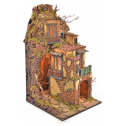 Borgo presepe napoletano stile 700 torre luce 65x45x37 3