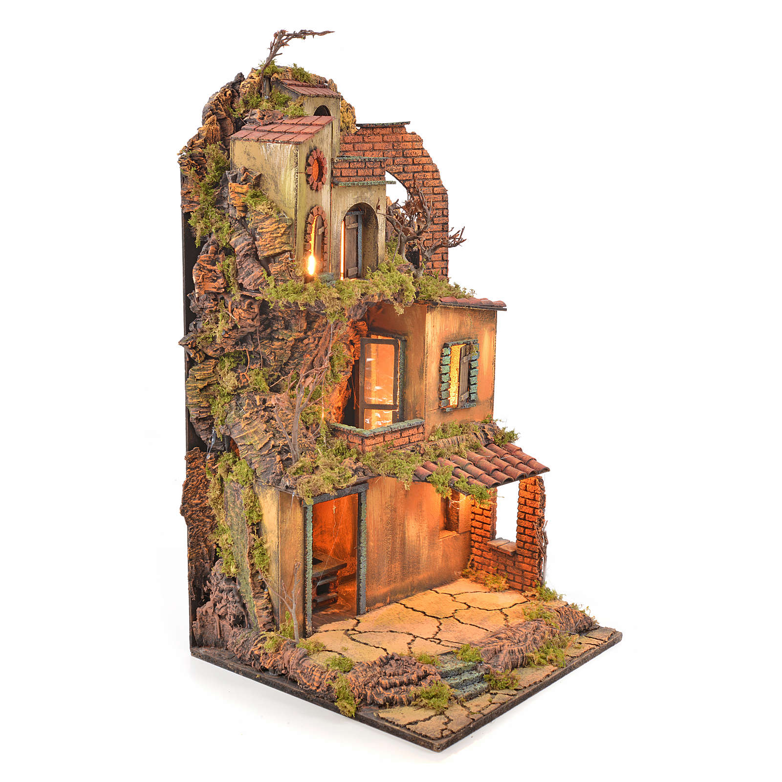 Borgo presepe napoletano stile 700 torre forno luce 65x45x37 4