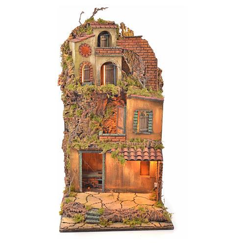 Borgo presepe napoletano stile 700 torre forno luce 65x45x37 1