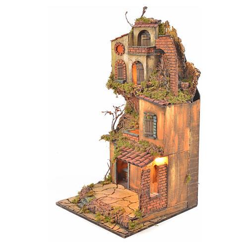 Borgo presepe napoletano stile 700 torre forno luce 65x45x37 3