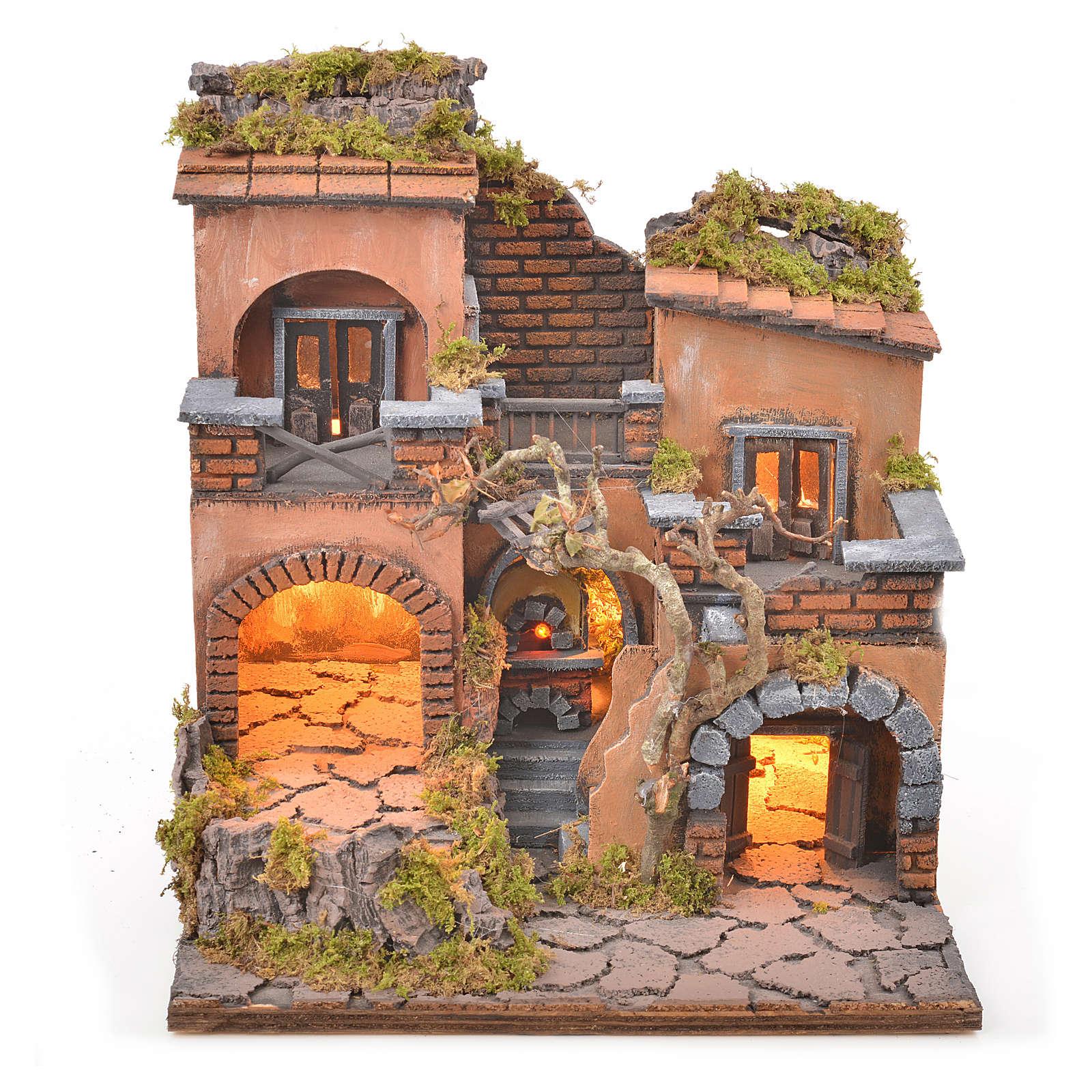 Borgo presepe napoletano con forno e luce 33x32x27 4
