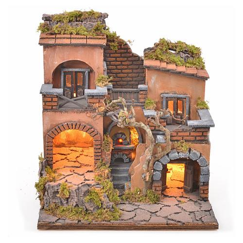 Borgo presepe napoletano con forno e luce 33x32x27 1