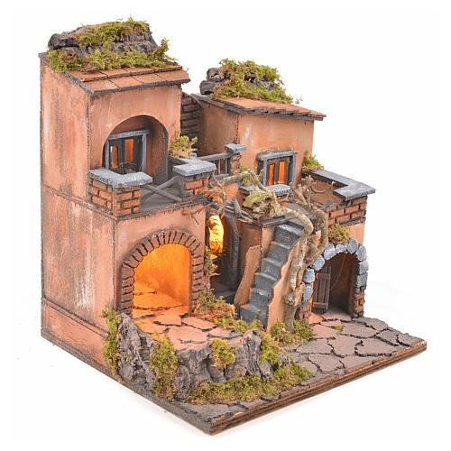 Borgo presepe napoletano con forno e luce 33x32x27 2