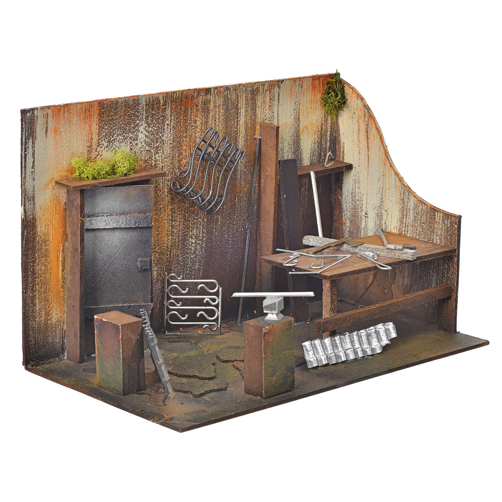 Atelier du forgeron en miniature pour crèche 20x33x18 4