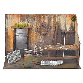 Atelier du forgeron en miniature pour crèche 20x33x18 s1