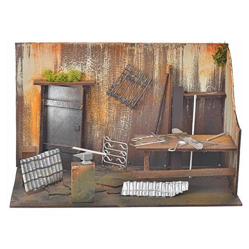 Atelier du forgeron en miniature pour crèche 20x33x18 1