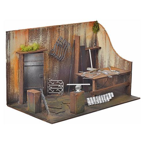 Atelier du forgeron en miniature pour crèche 20x33x18 2