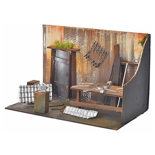 Atelier du forgeron en miniature pour crèche 20x33x18 3