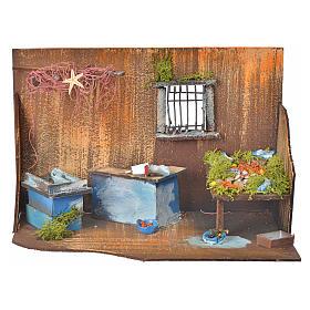Settings, houses, workshops, wells: Nativity setting, fishmonger's workshop 20x33x18cm