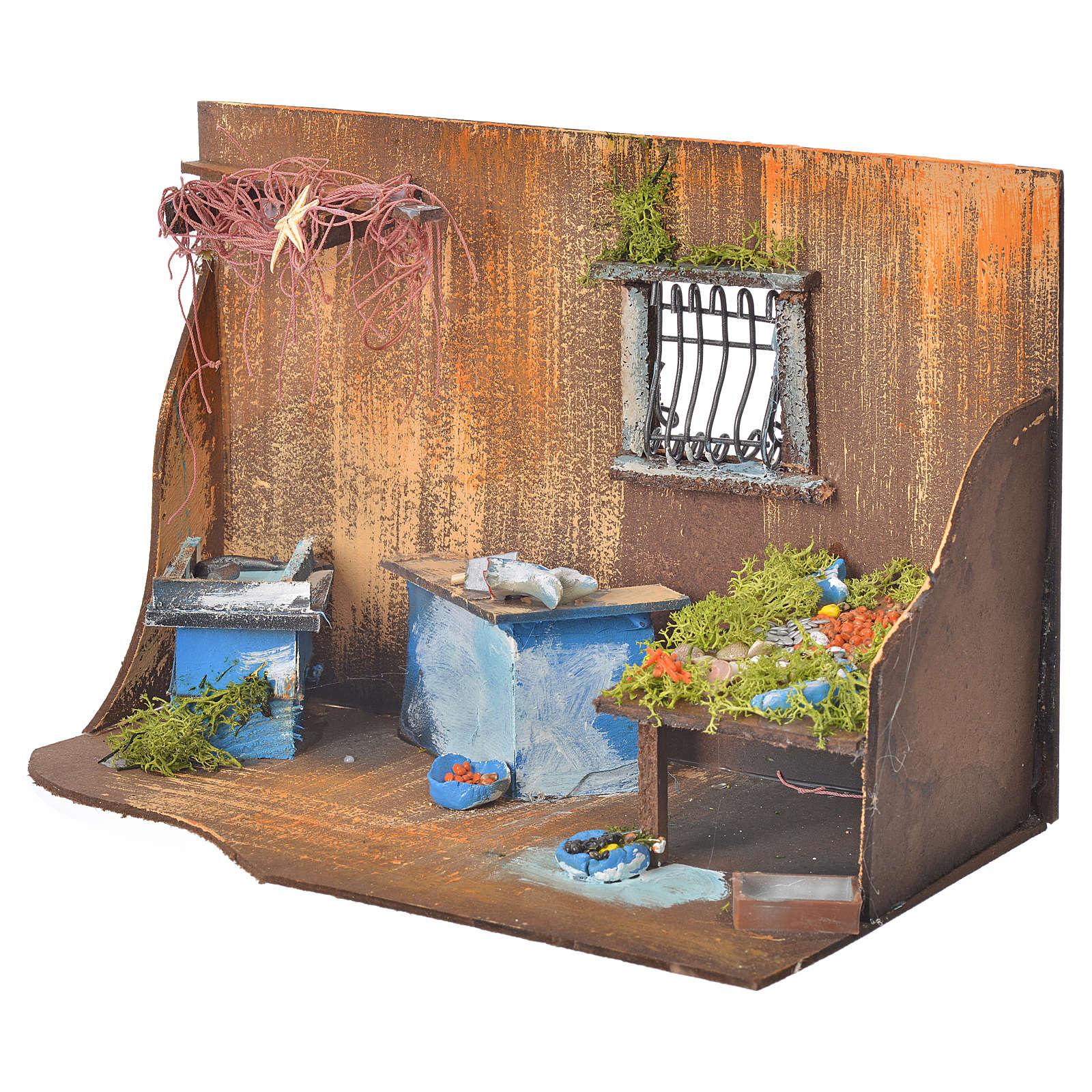 Poissonnerie en miniature pour crèche 20x33x18 4