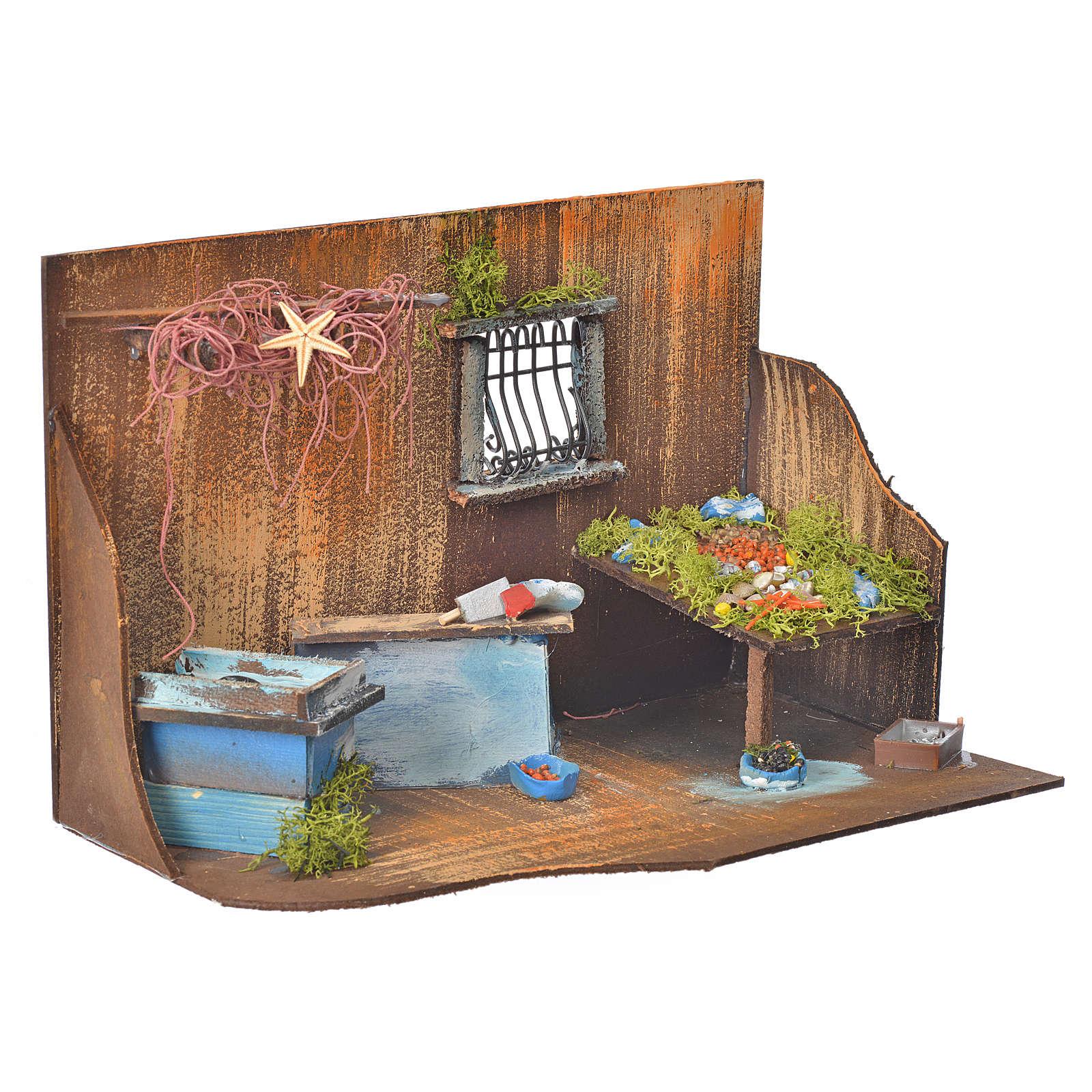 Bottega del pescivendolo per presepe cm 20x33x18 4