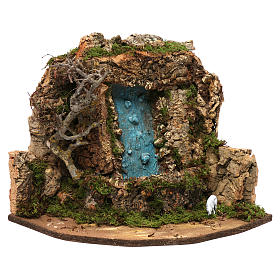 Bridges, streams and fences for Nativity scene: Nativity setting, waterfall with pump 30x32x30cm