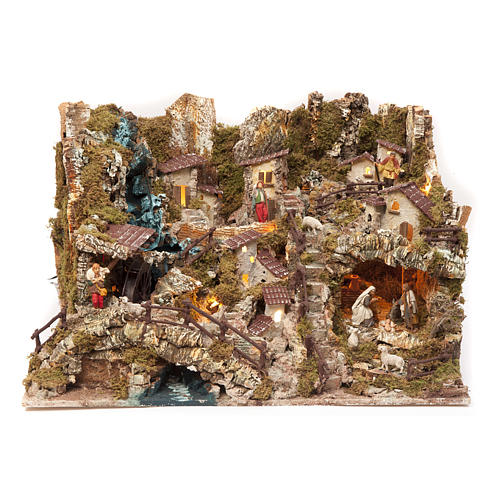 Nativity village with fire, lights, waterfall and pond 56x76x48c 1
