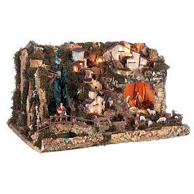 Portal de belén con luces, cascada, fuego y lago 56x76x48 cm. s5
