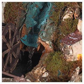 Portal de belén con luces, cascada, fuego y lago 56x76x48 cm. s8