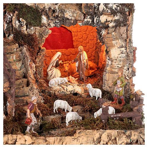 Portal de belén con luces, cascada, fuego y lago 56x76x48 cm. 2