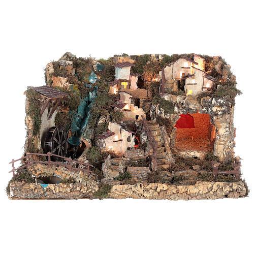 Portal de belén con luces, cascada, fuego y lago 56x76x48 cm. 13
