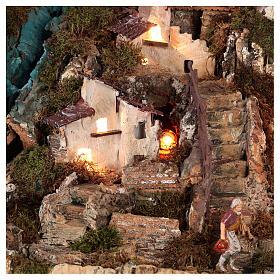 Bourg crèche avec feu, lumières, cascade, lac et moulin 56x76x48 s4