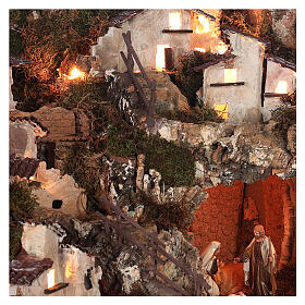Bourg crèche avec feu, lumières, cascade, lac et moulin 56x76x48 s12