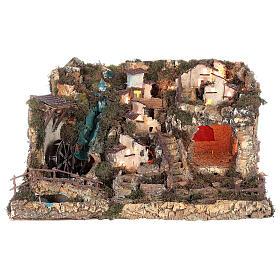 Bourg crèche avec feu, lumières, cascade, lac et moulin 56x76x48 s13
