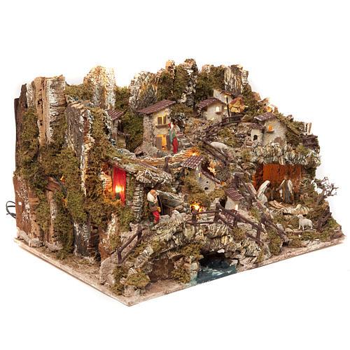 Bourg crèche avec feu, lumières, cascade, lac et moulin 56x76x48 2