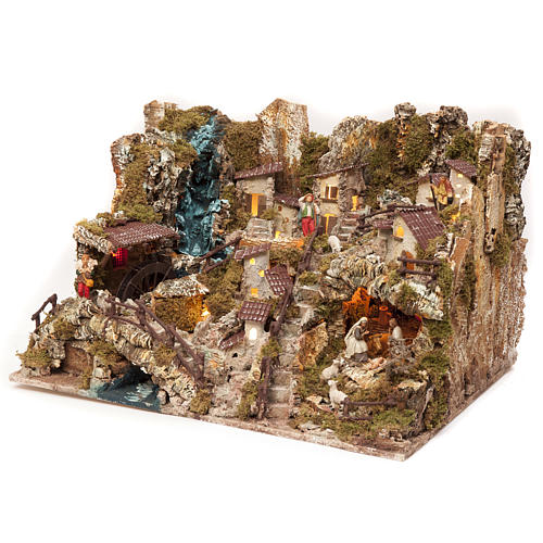 Bourg crèche avec feu, lumières, cascade, lac et moulin 56x76x48 3