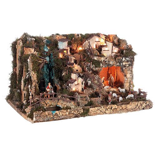 Bourg crèche avec feu, lumières, cascade, lac et moulin 56x76x48 5
