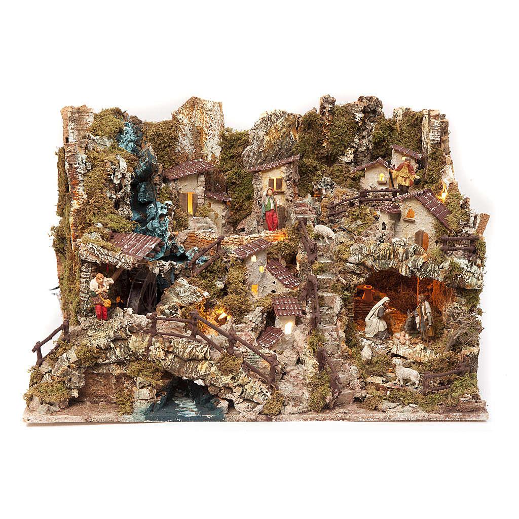 Borgo presepe con fuoco luci cascata lago mulino 56x76x48 4