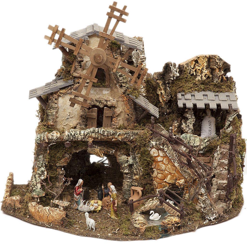 Borgo presepe con luci grotta mulino 50x58x38 4