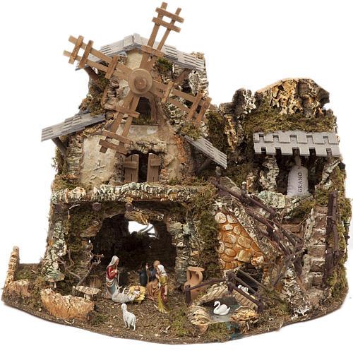Borgo presepe con luci grotta mulino 50x58x38 1