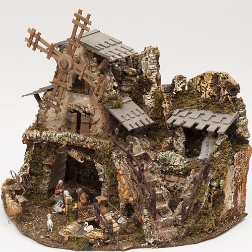 Borgo presepe con luci grotta mulino 50x58x38 3
