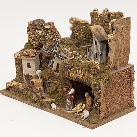 Nativity village, stable with grotto and mill 28x42x18cm s3