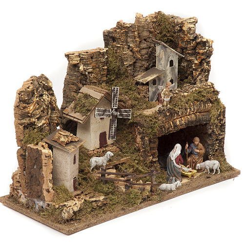 Nativity village, stable with grotto and mill 28x42x18cm 2