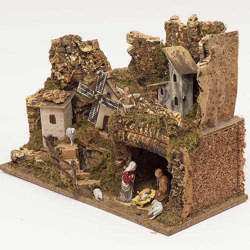 Nativity village, stable with grotto and mill 28x42x18cm 3