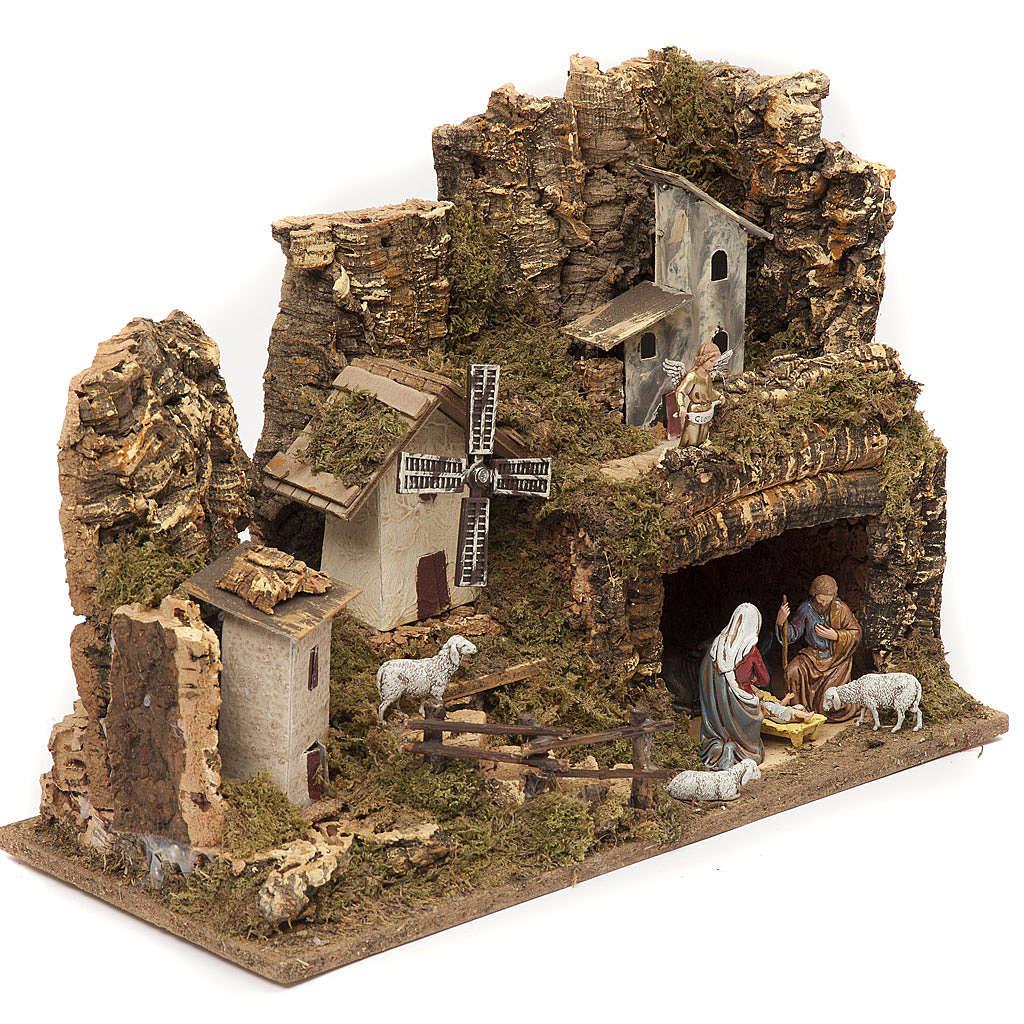 Bourg avec grotte crèche et moulin 28x42x18 cm 4