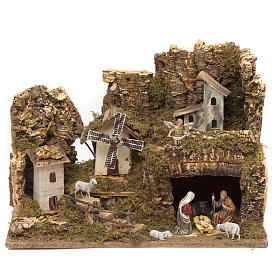 Étables crèche et Grottes: Bourg avec grotte crèche et moulin 28x42x18 cm