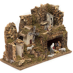 Nativity village, stable with grotto and mill 28x42x18cm s2