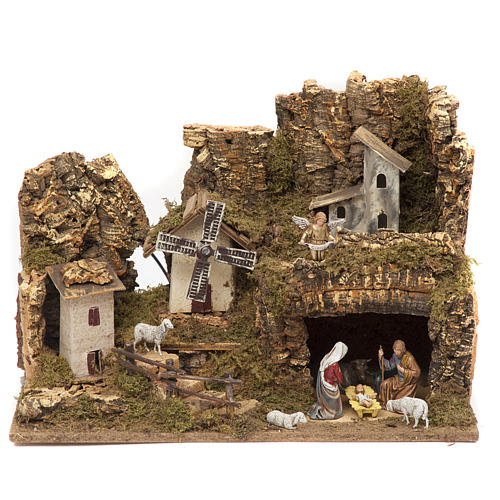 Nativity village, stable with grotto and mill 28x42x18cm 1
