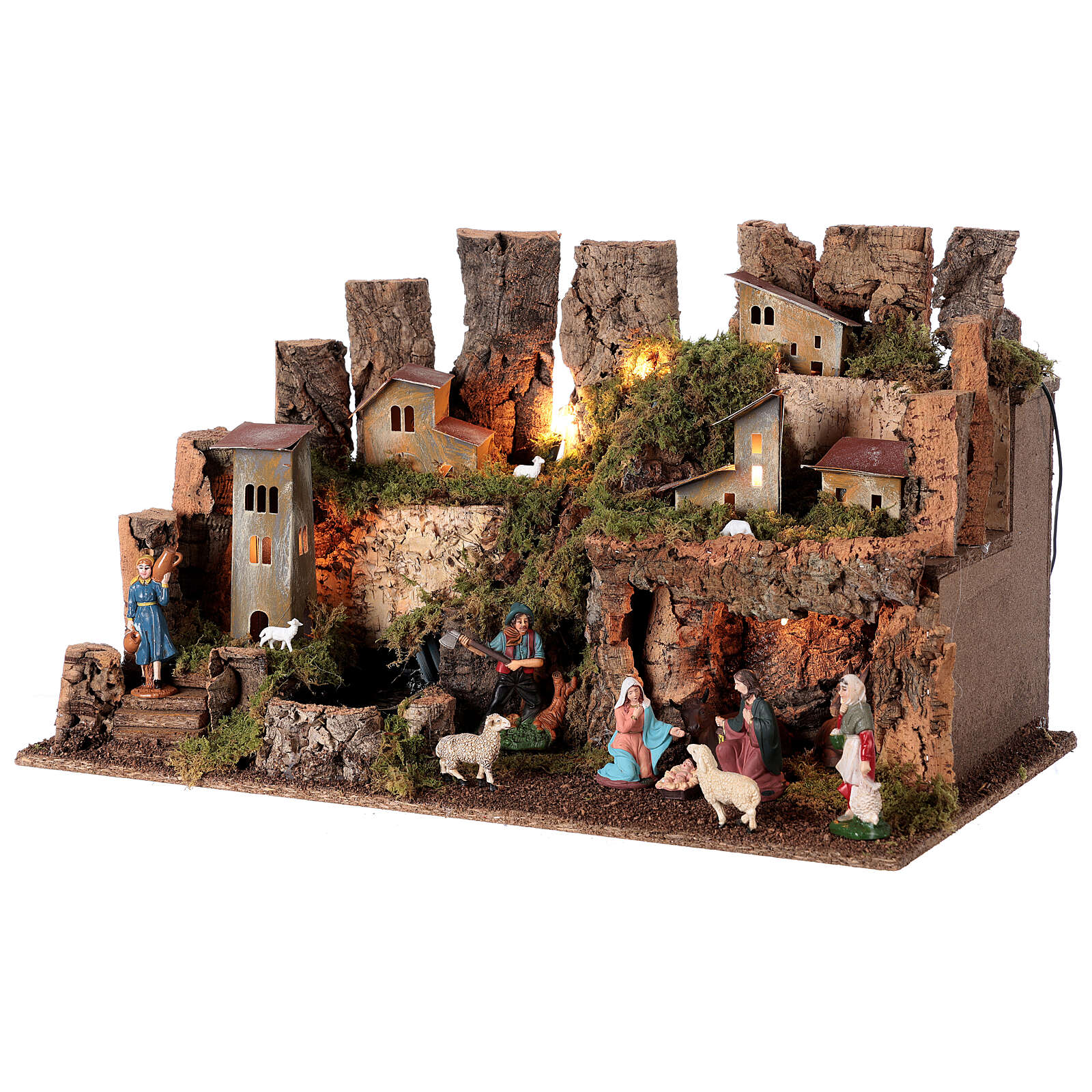 Nativity village, stable with fire and waterfall 40x58x38cm 4