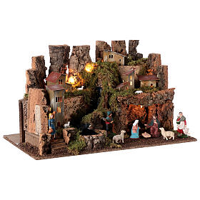 Nativity village, stable with fire and waterfall 40x58x38cm s6