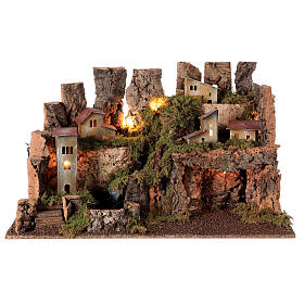 Nativity village, stable with fire and waterfall 40x58x38cm s7