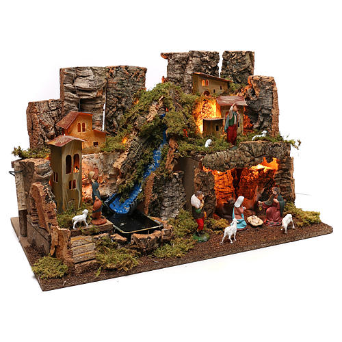 Nativity village, stable with fire and waterfall 40x58x38cm 3