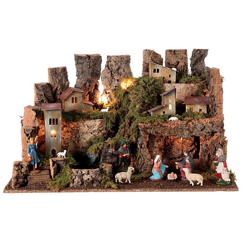 Nativity village, stable with fire and waterfall 40x58x38cm 1