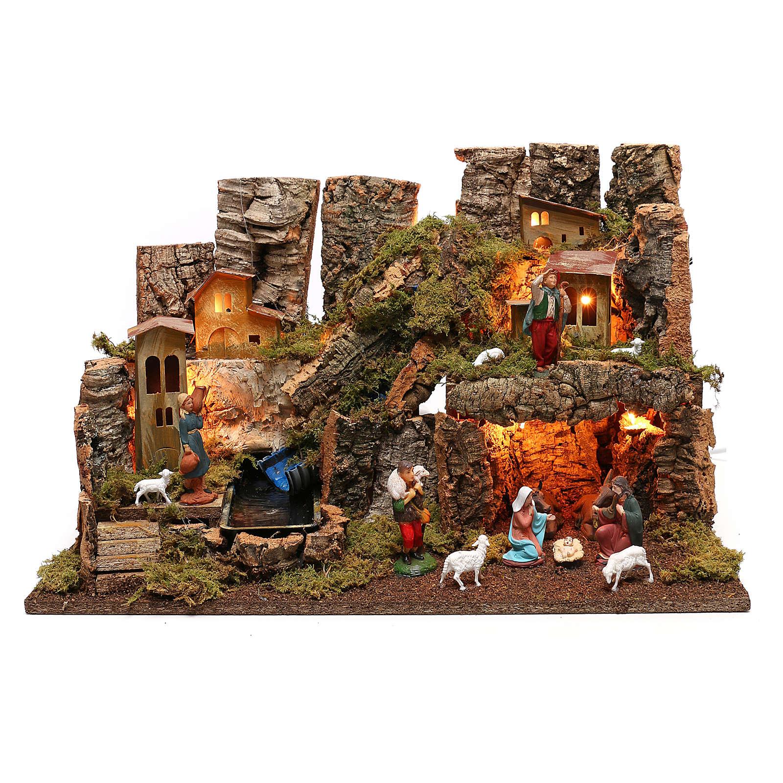 Portal de belén con fuego, luces, cascada y cueva 40x58x38 4