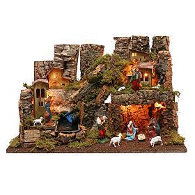 Portal de belén con fuego, luces, cascada y cueva 40x58x38 s1