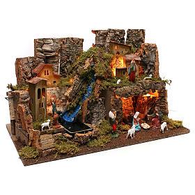 Portal de belén con fuego, luces, cascada y cueva 40x58x38 s3