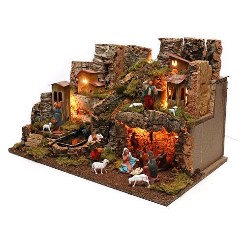 Portal de belén con fuego, luces, cascada y cueva 40x58x38 2