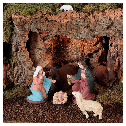 Bourg crèche avec grotte, feu, lumière et cascade 40x58x38 cm 2