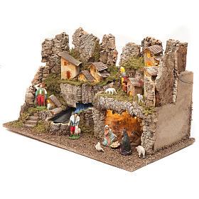 Borgo presepe con fuoco luci con cascata grotta 40x58x38 s3