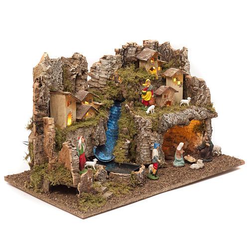 Borgo presepe con fuoco luci con cascata grotta 40x58x38 2